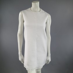 BALENCIAGA Size 4 White Textured Cutout Sleeveless Shift Dress