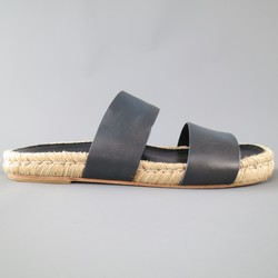 BALENCIAGA Size 8 Navy Leather Strap Espadrille Sole Slide Sandals