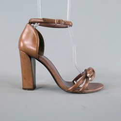 BALENCIAGA Size 9.5 Brown Leather Ankle Strap Thick Heel Sandals