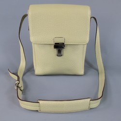 BALLY Mint Green Beige Textured Leather Cross Silver Buckle Body Bags