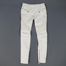 BALMAIN Size 4 White Cotton Gold Zip Moto Jeans