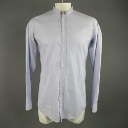 BALMAIN Size L Light Blue Striped Cotton Long Raw Collar Sleeve Shirt