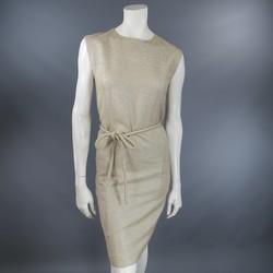 BARBARA TFANK Size 6 Metallic Silver Beige Textured Tie Belt Cocktail Dress 2012