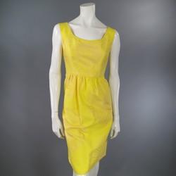 BARBARA TFANK Size 6 Yellow Silk Sunflower Cocktail Dress