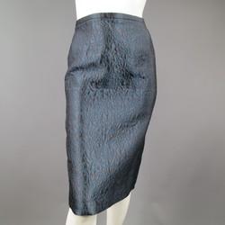 BARBARA TFANK Size 8 Charcoal & Teal Rose Brocade Pencil Skirt