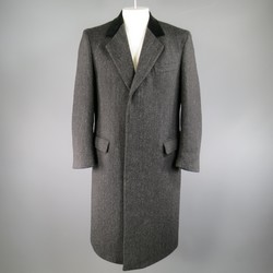 BARNEY'S NEW YORK 42 Charcoal Herringbone Wool Velvet Collar Hidden Placket Coat