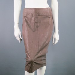 BARNEY'S NEW YORK Size 8 Taupe Leather Panel Pencil Skirt