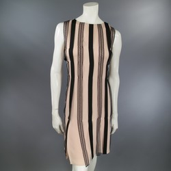 BEHNAZ SARAFPOUR Size 8 Pink & Black Silk Lace & Ribbon Striped Cocktail Dress