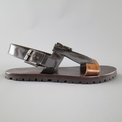 BELSTAFF Size 9.5 Black & Brown Two Toned Patent Leather Zip Sandals