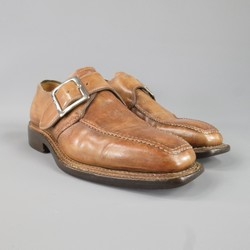 BETTANIN & VENTURI Size 8 Leather Tan Monk Straps