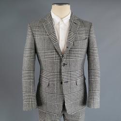 BLACK FLEECE 38 Short Black & White Wool Houndstooth Pattern 31 28 Suit