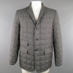 BLACK FLEECE 44 Dark Gray Quilted Down Wool Sport Coat Jacket