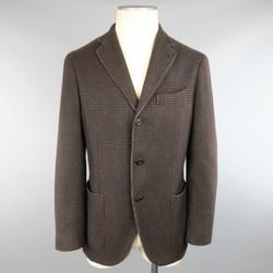 BOGLIOLI 38 Brown Glenplaid Cashmere 3 Button Sport Coat