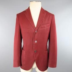 BOGLIOLI 38 Burgundy Washed Dyed Soft Wool 3 button Sport Coat