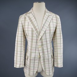 BOTTEGA VENETA 38 Short Cream Cotton / Silk Brown & Pink Plaid Sport Coat