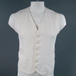 BOTTEGA VENETA 40 Cream White Linen Vest