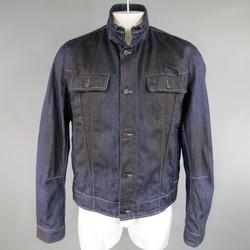BOTTEGA VENETA 44 Indigo Black Coated Denim High Collar Trucker Jacket