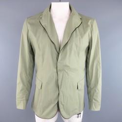 BOTTEGA VENETA 44 Moss Green Coated Cotton Zip Sport Coat Jacket