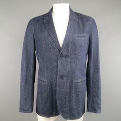 BOTTEGA VENETA 44 Navy Print Denim Sport Coat Jacket