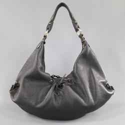 BOTTEGA VENETA Black Leather Gold Grommet Hoop Hobo Bag