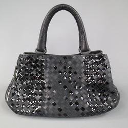 BOTTEGA VENETA Black Leather Suede & Patent Intrecciato Handbag