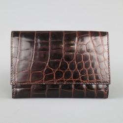 BOTTEGA VENETA Brown Alligator Textured Leather Card Holder Wallet