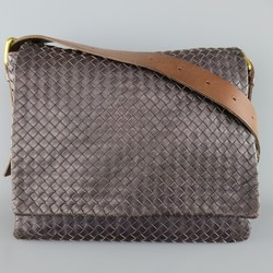 BOTTEGA VENETA Eggplant Intrecciato Woven Leather Brown Belt Strap Messenger Bag