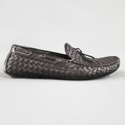 BOTTEGA VENETA Size 10 Black Intrecciato Leather Loafers
