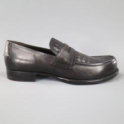 BOTTEGA VENETA Size 11 Black Leather Intrecciato Woven Penny Loafers