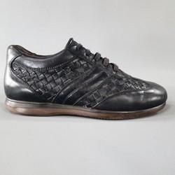 BOTTEGA VENETA Size 7 Navy Leather Intrecciato Woven Sneakers
