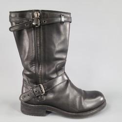 BOTTEGA VENETA Size 9 Black Leather Belted Biker Zip Calf  Boots