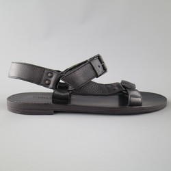 BOTTEGA VENETA Size 9 Black Textured Leather Ankle Strap Sandals