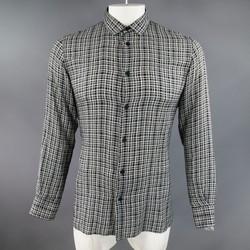 BOTTEGA VENETA Size M Black & White Plaid Soft Cotton Long Sleeve Shirt