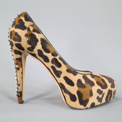 BRIAN ATWOOD Size 10 Leopard Print Pony Hair Chain Heel Platform Pumps