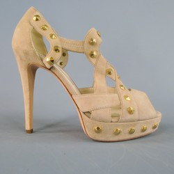 BRIAN ATWOOD Size 9 Beige Suede Studded Peep-Toe Platform Pumps