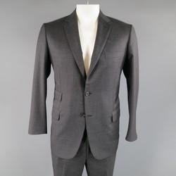 BRIONI 40 Regular Charcoal Textured  Wool Notch Lapel  Suit