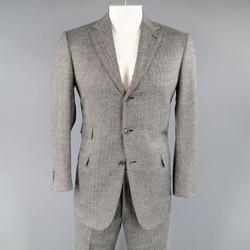 BRIONI 40 Regular Grey Herringbone Wool 33 30  Notch Lapel Suit