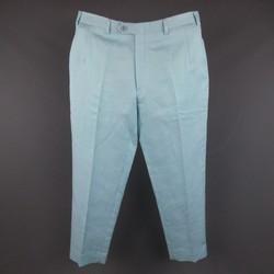 BRIONI Size 32 Aqua Blue Solid Cotton Linen Blend Dress Pants