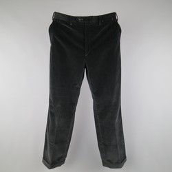 BRIONI Size 32 Black Corduroy Cuffed Hem Dress Pants