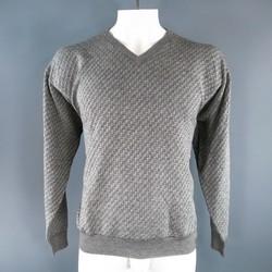 BRIONI Size XL Black & White Woven Pattern Wool V Neck Pullover