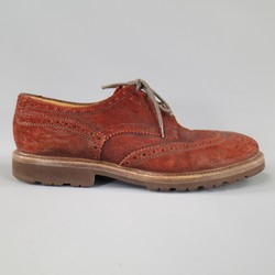 BRUNELLO CUCINELLI 10.5 Distressed Burgundy Suede Wingtip Comando Sole Shoes