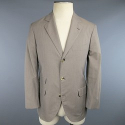 BRUNELLO CUCINELLI 36 Houndstooth Taupe Cotton 3 Button Sport Coat