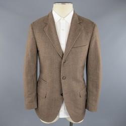 BRUNELLO CUCINELLI 38 Short Tan & Brown Checkered Plaid Wool Sport Coat