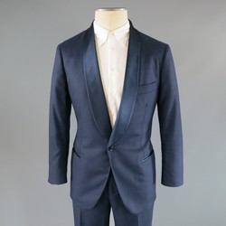 BRUNELLO CUCINELLI 40 Short Navy Cashmere Single Button Shawl Collar Tuxedo