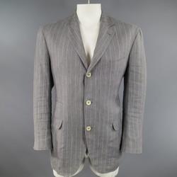 BRUNELLO CUCINELLI 44 Regular Gray Pinstripe Linen Three Button Sport Coat