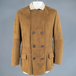BRUNELLO CUCINELLI 44 Tan Shearling Double Breasted Winter Coat
