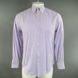 BRUNELLO CUCINELLI M Purple & White Striped Cotton Long Sleeve Button Down Shirt