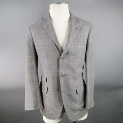 BRUNELLO CUCINELLI Regular Gray Glenplaid Linen Blend Sport Coat