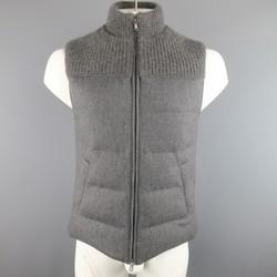 BRUNELLO CUCINELLI S Grey Quilted Wool/ Silk/Cashmere Half Knit Puff Vest
