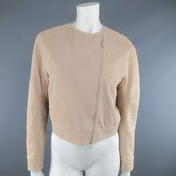 BRUNELLO CUCINELLI Size 2 Rose Pink Textured Leather Moto Jacket
